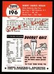 1953 Topps Archives #196  Bob Keegan  Back Thumbnail