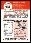 1953 Topps Archives #216  Jim Hughes  Back Thumbnail