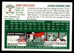 1994 Topps 1954 Archives #4  Hank Sauer  Back Thumbnail