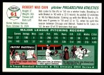 1994 Topps 1954 Archives #61  Bob Cain  Back Thumbnail