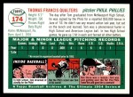 1954 Topps Archives #174  Tom Qualters  Back Thumbnail