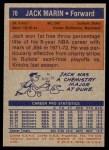 1972 Topps #70  Jack Marin   Back Thumbnail