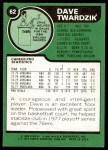 1977 Topps #62  Dave Twardzik  Back Thumbnail
