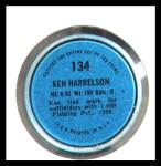 1971 Topps Coins #134  Ken Harrelson  Back Thumbnail