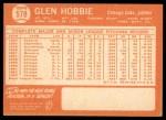 1964 Topps #578  Glen Hobbie  Back Thumbnail