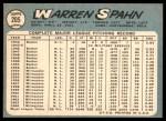 1965 Topps #205  Warren Spahn  Back Thumbnail