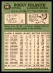1967 Topps #580  Rocky Colavito  Back Thumbnail