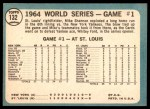 1965 Topps #132   -  Mike Shannon / Whitey Ford / Elston Howard 1964 World Series - Game #1 - Cards Take Opener Back Thumbnail