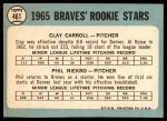 1965 Topps #461   -  Phil Niekro / Clay Carroll Braves Rookies Back Thumbnail