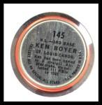 1964 Topps Coins #145   -   Ken Boyer All-Star Back Thumbnail