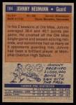 1972 Topps #184  Johnny Neumann  Back Thumbnail