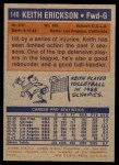1972 Topps #140  Keith Erickson   Back Thumbnail