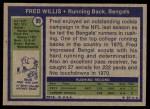 1972 Topps #99  Fred Willis  Back Thumbnail