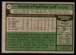 1979 Topps #402  Paul Hartzell  Back Thumbnail