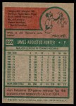 1975 Topps #230  Catfish Hunter  Back Thumbnail