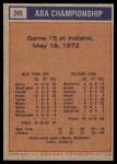 1972 Topps #245   ABA Championship Game #5 Back Thumbnail