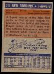1972 Topps #212  Red Robbins   Back Thumbnail