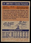 1972 Topps #34  Jim Fox   Back Thumbnail