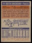 1972 Topps #140  Keith Erickson   Back Thumbnail