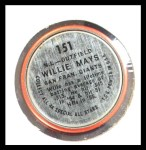 1964 Topps Coins #151   -   Willie Mays All-Star Back Thumbnail