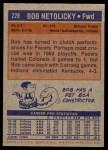 1972 Topps #228  Bob Netolicky  Back Thumbnail