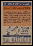 1972 Topps #185  Willie Wise   Back Thumbnail