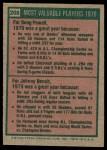 1975 Topps #208   -  Johnny Bench / Boog Powell 1970 MVPs Back Thumbnail