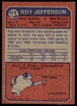 1973 Topps #472  Roy Jefferson  Back Thumbnail