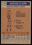 1972 Topps #170   -  Archie Clark  NBA All-Star - 2nd Team Back Thumbnail
