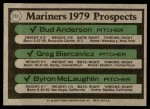 1979 Topps #712   -  Bud Anderson / Greg Biercevicz / Byron McLaughlin Mariners Prospects   Back Thumbnail