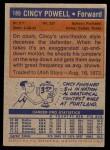 1972 Topps #189  Cincy Powell   Back Thumbnail