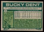 1977 Topps #29  Bucky Dent  Back Thumbnail