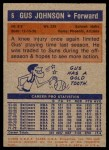 1972 Topps #6  Gus Johnson   Back Thumbnail