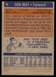 1972 Topps #96  Don May   Back Thumbnail