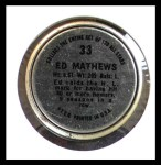 1964 Topps Coins #33  Eddie Mathews  Back Thumbnail
