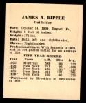 1941 Harry Hartman #22  James Ripple  Back Thumbnail