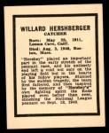 1941 Harry Hartman #11  Willard Hershberger  Back Thumbnail