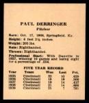 1941 Harry Hartman #5  Paul Derringer  Back Thumbnail