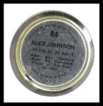 1971 Topps Coins #84  Alex Johnson  Back Thumbnail