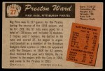 1955 Bowman #27  Preston Ward  Back Thumbnail