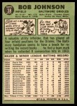 1967 Topps #38 RL Bob Johnson  Back Thumbnail