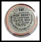 1964 Topps Coins #147   -   Dick Groat All-Star Back Thumbnail