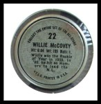 1964 Topps Coins #22   Willie McCovey   Back Thumbnail