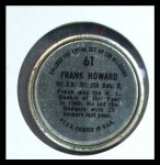 1964 Topps Coins #61   Frank Howard   Back Thumbnail