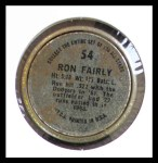 1964 Topps Coins #54   Ron Fairly   Back Thumbnail