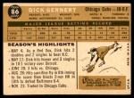 1960 Topps #86  Dick Gernert  Back Thumbnail