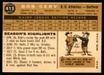 1960 Topps #415  Bob Cerv  Back Thumbnail