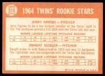 1964 Topps #516   -  Jerry Arrigo / Dwight Siebler Twins Rookies Back Thumbnail