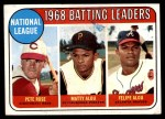 1969 Topps #2   -  Pete Rose / Matty Alou / Felipe Alou NL Batting Leaders Front Thumbnail