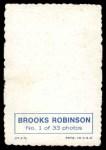1969 Topps Deckle Edge #1  Brooks Robinson  Back Thumbnail